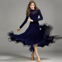 Wholesale Spandex Mesh Dress - Dark Blue flamenco dress spanish dance costume flamenco dance costumes ballroom dance competition dresses ballroom dancewear waltz