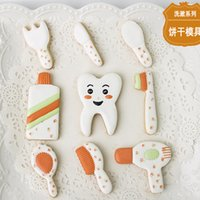 Wholesale Cake Knifes - 9pcs Knife Fork Toothbrush Toothpaste patisserie reposteria Molds Metal Cookie Cutter Fondant Cake Decorating Biscuit Pastry Chocolate Mould