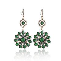 Wholesale green austrian crystal earrings resale online - Fashion Earrings Austrian Crystal Drops Stone Flower Dangling Earrings for Women Red Green Grey Color Charm Jewelry Christmas Gift