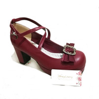 Wholesale Brown Lolita Shoes - new fashion uniform shoes lolita thick with waterproof bow womens wedding shoes high heel lolita shoes Honeycherry