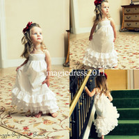 Wholesale Lace Skirts 3t - Lace Flower Girl Dresses for Beach Wedding 2017 A-Line Spaghetti Square Tiered Skirt Vintage Garden Country Child First Communion Dress