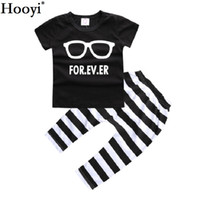 Wholesale Leopard Outfits For Babies - Hooyi Black White Baby Boy Clothes Set Short Sleeve T-Shirt Stripe Pant 100% Cotton 70 80 90 100 Toddler Clothing Suit Glass For Ever Outfit
