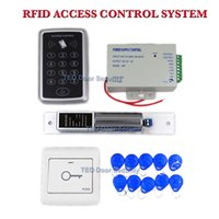 Wholesale Card Id Door Lock - DIY 125KHz RFID ID Card Keyfobs Access Control Kit 1000kg Holding Force Electric Bolt Door Lock Keyfobs One Door Access Control