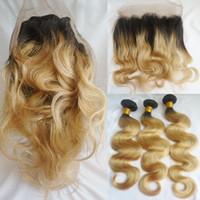 Wholesale Dark Honey Blonde Hair - Two Tone T1b 27 Ombre Brazilian Hair Bundles With 360 Lace Frontal Body Wave Virgin Human Hair Weaves Closure Dark Root Honey Blonde