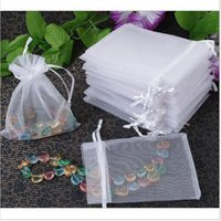 Wholesale Organza Bags 5x7cm - Jewelry Organizer Gift Bag 100pcs Wholesale White Drawable Organza 5x7cm For Wedding Bags Jewelry Pouches,small Candy Bags