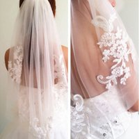 Wholesale Diamond White Bridal Veils - Hot Sell Diamond Veils Short Designer Single Cut Applique Crystal Elbow Length One Layer Wedding Veil With Comb High Quality Free Shipping