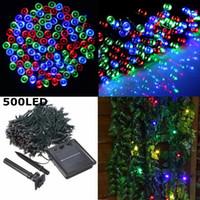 ingrosso le luci delle fate del giardino-50M 500 LED Solar Powered RGB Fairy Strip Light per Xmas Festival Lights String Decorating Garden DEL_10G