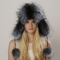 Wholesale Fluffy Headbands - Aviator Hat Women's Fur Hat Fluffy Brim & Earflap Womens Real Fox Fur Hat Headbands Caps Winter Autumn Fashion Raccoon fur cap
