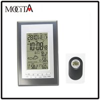 Wholesale Best Thermometer Hygrometer - Best MOCITA Radio Controlled Weather Station with Digital Alarm Clock Indoor Outdoor Thermometer Hygrometer Free Shipping