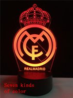 Wholesale Usb Led Badge - 3D acrylic seven color LED small night light's creative gift Cartoon Real Madrid badge USB lamp
