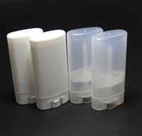 Wholesale Empty Plastic Lipstick Tubes - 1000PCs lot 15ml Plastic Empty Oval Lip Balm Tubes Deodorant Containers Clear White Lipstick Fashion Cool Lip Tubes