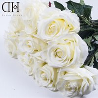 Dh Luxury White Artificial Rose Real Touch Fake Rose Flowers Bouquet For Wedding Party Fake Flower Home Decor
