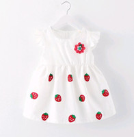 Wholesale Japanese Hot Skirt - Hot Selling Summer Princess Dress Baby Girl White Strawberry Applique a flower Japanese baby kids skirt 0-3 years