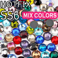 mélange strass plat achat en gros de-Vente en gros - Mix Colors SS6 1.9-2.0mm, 1440pcs / Bag DMC HotFix Flat Back Strass, Hot Fix glitters en fer sur le vêtement de vêtements en cristal de pierre