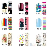 Wholesale Nail Foil Self Adhesive - Wholesale- Fashion Self Adhesive Polish Foils Nail Art Stickers Manicure Decals Wraps Tips 14.3G1.98Y