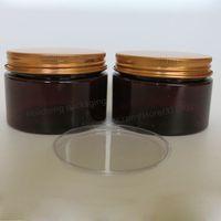 Wholesale Wholesale 4oz Glass Bottles - 20 x 120g Amber PET Cream Jar 4oz Cream Bottle with gold aluminum lids and Inner Pad