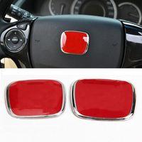 Wholesale Honda Fit Auto - New JDM Red Black Blue Car Auto Steering Wheel badge Emblem Badge for H civic fit jazz crz 53x43mm 50x40mm