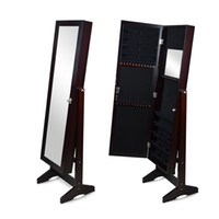Wholesale Bedroom Armoire Furniture - Mirror Jewelry Cabinet Jewerly Armoire Wall or Door Mount or Floor Standing Jewelry Stroage Organizer Stock in USA