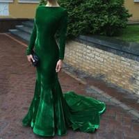 Wholesale Emerald Green Short Dresses - Elegant Long Sleeve Evening Dresses Velvet Emerald Green Prom Gown Mermaid Custom made Party Dress Free Shipping vestidos