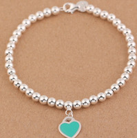 Wholesale Linked Charm Bracelets For Sale - Hot sale Charm Bracelets S925 Sterling Silver beads chain bracelet with enamel grenn pink heart for women and day gift jewelry