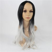Wholesale Black Long Wigs Pigtails - Mixed color synthetic hair MCOSER 70cm 60cm Long White and Black pigtail Mixed Synthetic Wig 100% High Temperature Fiber Hair WIG
