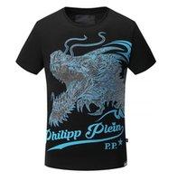 Wholesale Drill Shirts - 2017 summer newest qp men's dargon drilling luxury T-shirt men's round neck t-shirt fashion t-shirt free shipping