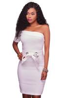 Wholesale Newest Sash One Shoulder - Cryg Newest Women Mini Dress Sexy White Black Night Club Party One Shoulder Bodycon Dress Summer Jurken 2017 Zomer Dames