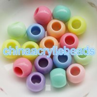 Wholesale Large Chunky Acrylic Beads - 500Pcs Set Wholesale 8*10MM Acrylic Round Chunky Beads 5MM Large Hole Spacer Beads Plastic Opaque Round Beads For Jewelry Making Findings