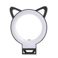 Wholesale Led Flashing Ear Ring - Fashion Charm eyes Clip Selfie Ring Light Cat Ear LED selfie flash light rechargeable lamp selife fill-light for Smartphone