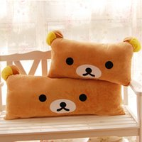 Vente en gros - 1pc Taille énorme Cartoon Rilakkuma Bear Peluche Pillow Grand coussin de canapé Farce Easy Bear Long Oreiller