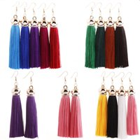 Retro Earrings Bohemian Style Tassels Long Earrings Fringe Ear Studs Silk Dangle 13 Color Long Dangle Vintage Pendientes Para Las Mujeres B703L