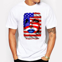 Campeggio Escursionismo T shirt uomo estate Cool USA Flag Girl Portrait T-shirt stampata divertente anime manica corta T-shirt pop bianca hip homme