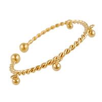 ingrosso bracciali a campana-Bracciale donna regolabile moda in Europa e America 18 carati Bracciale rigido torsione in oro giallo 18K per donna