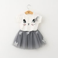 Wholesale girls shirts suspenders - 7 style two-piece Printed sleeveless cartoon t-shirt+short skirt cartoon outfit suspenders two-piece outfit