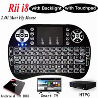 Retroilluminazione tastiera Rii Mini i8 + Inglese per Android TV Box Telecomando 2.4G Tastiera wireless con Touch Pad per Smart TV PC