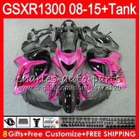8Gifts 23Colors pour SUZUKI Hayabusa GSXR1300 08 09 10 11 12 13 14 15 Rose noir 19NO32 GSX R1300 GSXR 1300 2012 2013 2014 2015 Kit de carénage