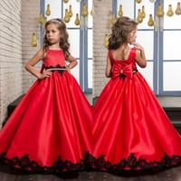 Wholesale Dress Wedding Aplique - New Arrival Flower Girl Dresses Beaded Sash Communion Dress Lace Aplique A Line Gowns For Kids