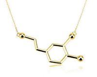 Wholesale Copper Structures - SMJEL 2017 New Fashion Chemistry Necklace Structure Necklace Dopamine Molecule Necklaces for Women 10pcs-N140