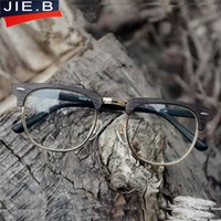 Wholesale Classic Metal Works - 2017 Newest Oversize Glasses Frames Classic Retro Clear Lens Frames Eyeglasses Men Women Half Metal Half Metal Eyewear