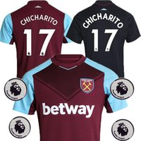 Wholesale West Home - With Patch 2017 2018 West Ham United Home 17 CHICHARITO Soccer Jersey 17 18 Maillots Away Black CARROLL Lanzini ANTONIO PAYET Football Shirt