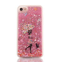 Wholesale Soft Umbrellas - Glitter Bling Dynamic Liquid Quicksand umbrella girl Clear Soft TPU Phone Case Hard PC Back Cover For iPhone 6 6S 6sPlus 7 7Plus