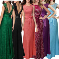 Wholesale women s dresses size 12 - Women Evening Lace Summer Long Maxi Dresses Female Bow Belted Sleeveless Back V Party Dress Plus Size Vestidos #001 12