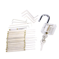 Wholesale Tension Wrenches - 12pcs Whole Stainless Steel Lock Picks Lockpick Locksmith Tools Lock Opener + 1pcs Transparent Padlock Practice Lock + 5pcs Tension Wrenches