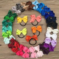 Wholesale Solid Grosgrain Ribbon Mixed - XIMA 32pcs lot 3'' Solid Grosgrain Ribbon Hair Bows WITH Elastic Kids Accessories Boutique Ponytail Holder Headband