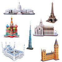 Wholesale 3d Famous Architecture - 3D Model Puzzle Famous Architecture DIY Construction Model Children Kids Gift learning education toys