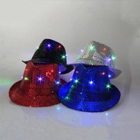 Wholesale Led Fedora Wholesale - Adults Sequins Jazz Hat New LED Sequins Caps LED Stingy Brim Hats Adult Fedora Hats Fedoras Magic Show Hat Christmas Halloween Party LED Cap