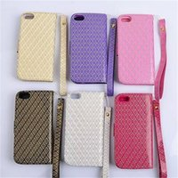 Wholesale Iphone 4s Pu Diamond Case - 200pcs Diamond Bling PU Leather Wallet Case Cover with Card Holder for iPhone 4 4s 5 5s 6 6s Plus No Package
