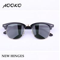 sıcak moda adam güneş gözlüğü toptan satış-AOOKO Sıcak Satış Tasarımcı Pop Kulübü Moda Güneş Erkekler Güneş Gözlükleri Kadınlar Retro Yeşil G15 gri kahverengi Siyah Cıva lens Yeni Menteşe 49mm 51mm