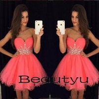 Wholesale Stylish Party Shirts - Cheap Stylish Short Homecoming Dresses For Juniors 2018 Crystals Beaded Sash Ruffle Tulle A Line Sweetheart Sleeveless Mini Prom Party Gowns