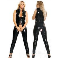 Wholesale Erotic Role Play Costumes - Sexy Women's Faux Leather Bodycon Jumpsuit Black Bodysuit Open Crotch Lace-Up Sexy Game Role Play Fetish Wear Erotic Catsuit Size S-5XL